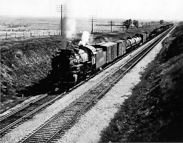 Santa Fe Freight Under Way (in 50's)